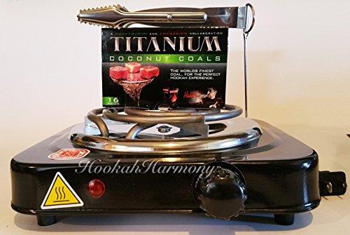HookahHarmony Hookah Charcoal Coco Burner 1100 Watt Hot Plate FREE Titanium Coals + Shisha Tongs Black Electric Nara Heater Single Coil Stove