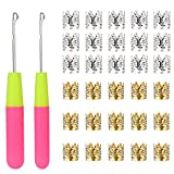 2 PCS Latch Hook Crochet Needle + 30 PCS Dreadlocks Rhinestone Hair Ring Decoration Braiding Hair Silver Gold Metal, for...
