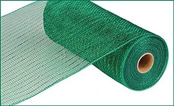 10 Inch x 30 Feet Deco Poly Mesh Ribbon - Metallic Emerald Green : RE130106