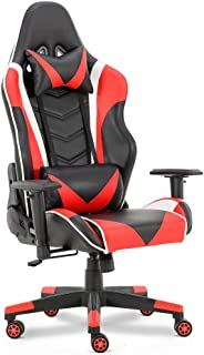 Gaming Chair Racing Office Computer Game Chair Ergonomic Backrest and Seat Height Adjustment Recliner Swivel Rocker with Headrest and Lumbar Pillow E-Sports Chair(Red)