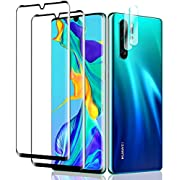 [2+2 Pack] HD Full Screen Coverage with Camera Lens Protector, Compatible with HUAWEI P30 Pro, 9H Tempered Glass Screen Protector, Bubble Free, Impact & Scratch Protection for HUAWEI P30 Pro