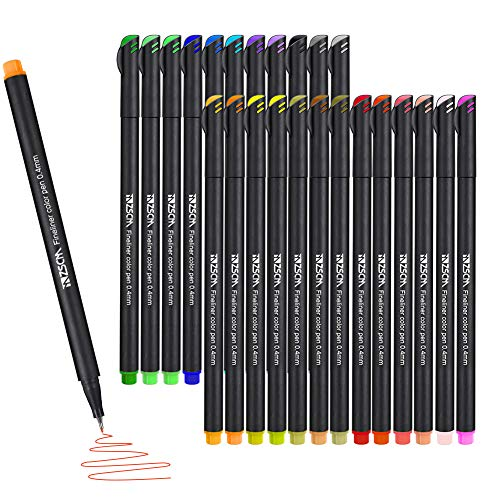 ZSCM 24 Coloring Markers Journal Planner Pens, Colored Fine Point Drawing Pen Fineliner Pens for Bullet Journaling Writing Note Taking Calendar Art School Office Supplies Projects
