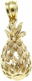 14K Solid yellow gold Hawaiian diamond cut pineapple charm pendant 7.5mm