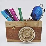 Zak-ka Camera Wooden Pencil Holder Creative Desktop Pencil Holder Stationary Makeup Organizer Decor Holder for Office Home (camera)