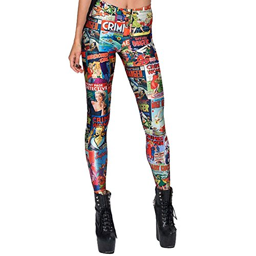 HG Schlank Passen Quadrat Comics Digital Drucken Leggings