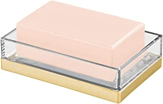 mDesign Decorative Bar Soap Dish Tray for Bathroom Vanities, Countertops, Pedestals, Kitchen Sink - Store Hand Soap, Pumice Bars, Sponges, Scrubbers - Clear/Gold