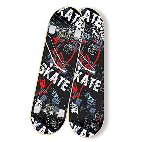 Komplette Skateboards, 78,9 x 20,3 cm, Ahorn-Deck, Doppelkick, konkav, Cruiser-Trick-Skateboard für Anfänger, Erwachsene, Kinder, Schwarz