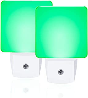 Green Night Light, Plug in LED Nite Lite with Dusk to Dawn Sensor, 2 Pieces