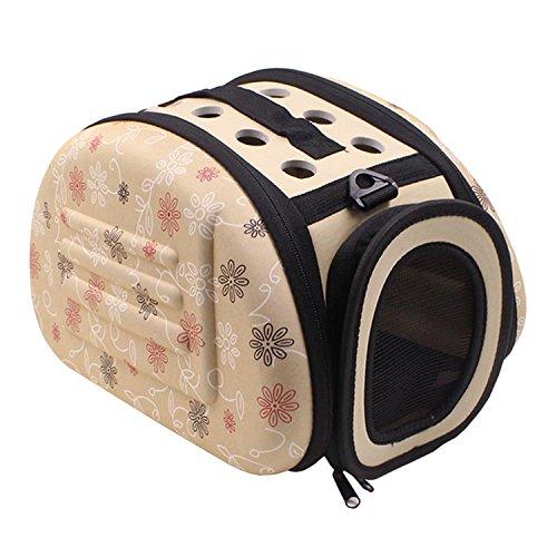 Beetest Transporteur de Chat, en Plein air Voyage Portable Pliable Mignon Doux Pet Carrier Cage Sac Kennel avec Anti-dérapant Épaulière pour Chiot Petit Chien Chat Taille S Jaune