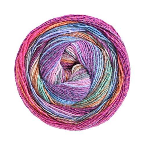 Lana Grossa Gomitolo Molto - 200g Kammgarn Bobble Wolle mit Farbverlauf und Herz Dunkel-Himmelblau-Aubergine-Camel-Ecru-Rotviolett-Nelke