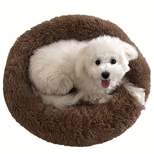 GLF Comfortable Dog Pillow with Removable Cover, Warm Orthopedic Dog Bed for Head and Neck Support, Donut Cuddler Cat Puppy Pillow Bed-Coffee-XL