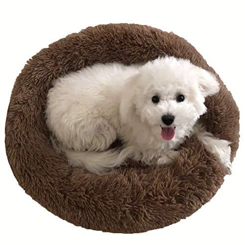 JRUI Rundes Haustierbett, waschbares Hundebett aus Plüsch, warm, weiches Kissen, Donut-Kuschel für Katzen, klein, mittelgroß, große Hunde, orthopädische Hundehütte, Haustier-Schlafsack