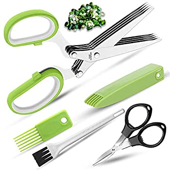 Premium Herb Scissors with 5 Stainless Steel Blades Kitchen Shear Mincer Set with Cleaning comb Safe Cover,Ideal Garden Kitchen Gadgets for Shredding Paper Food Salad Herb black collapsible scissor