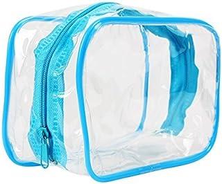 eDealMax PVC cosmética del artículo de tocador Claro viaje Wash Titular Bolsa Kit Organizador Azul