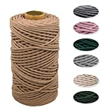 wiwoo Filato macramè, 4 mm x 100 m, filo di cotone naturale, corda di cotone rosso mattone, filo macramè, per fai da te, per appendere le piante, per lavori a maglia