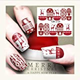 Kinshops Nail Art Nail Autocollant Nouvel an Curseur Tatouage De Noël Eau Decal Père Noël Bonhomme De Neige Plein Wraps Designs Stickers Dec Multicolore Mixte