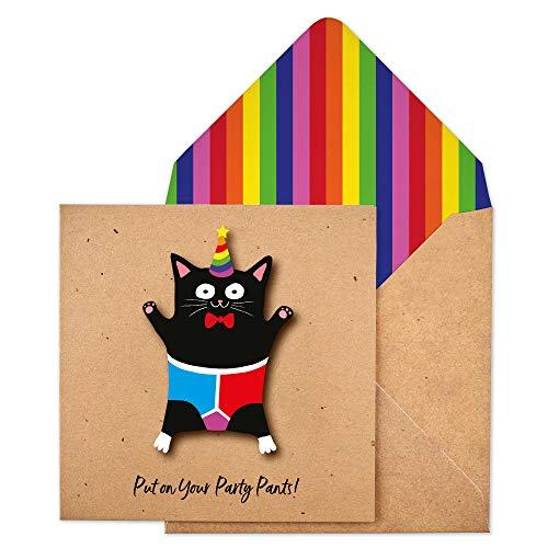 Biglietto d'auguri fatto a mano con gatto con busta arcobaleno