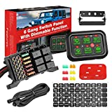 6 Gang Switch Panel Automatic Dimmable, Niwaker Universal Electronic Relay System Circuit Control Box On-Off LED Car Switch Panel Button Switch Pod Touch Switch Box for Truck ATV UTV Boat Caravan