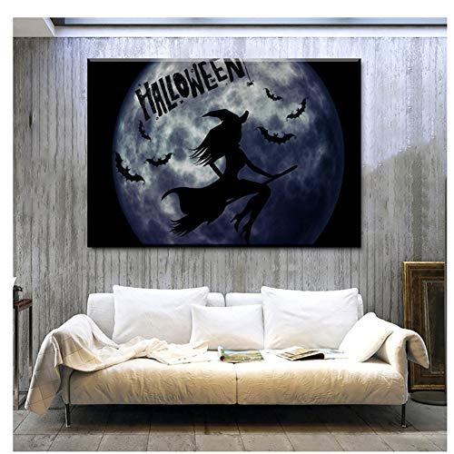 GIRDSS Leinwand Home Wandkunst HD Drucke Wohnzimmer Poster Fledermaus Halloween Hexe Gemälde Einzigartige Geschenkbilder-60X90cm ohne Rahmen