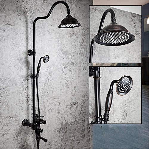 AXWT Ducha de Lujo Negro Cabeza de Ducha de frío y Caliente, Cuarto de baño Montado en la Pared Bañera Faucet Ducha Forma Redonda Tapa Tapa Spray Altura Ajustable Ducha Ducha Ducha