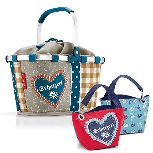 reisenthel Bavaria Serie mit Zugabe Einkaufskorb Tasche Shopper Reisetasche Rucksack Beutel (carrybag xs + schatzerl Blue)