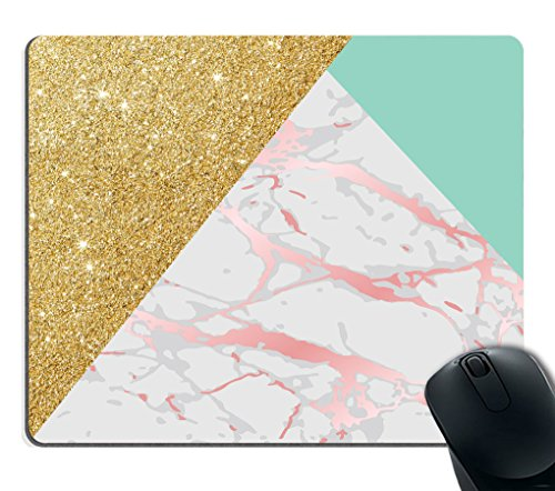 Smooffly Gaming Mouse Pad Custom Smooffly Rectangle Gaming Mouse Pad Personalized Custom Design,Blue Gold Glitter and Pink Marble Texture,Non-Slip Thick Rubber Large Mousepad