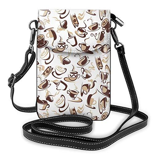 Leder-Geldbörse, braune Kaffeetassen mit Bohnen Kleine Umhängetasche Mini-Handytasche Umhängetasche für Frauen