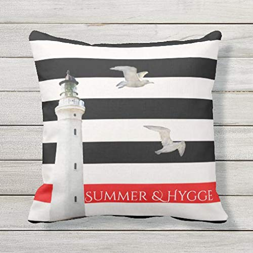 Viowr22iso Lumbar Pillow Covers, Hygge Summer on Black white red stripes lighthouse Cushion Cover Pillow Case 22x22 Inch for Sofa Couch Decoration