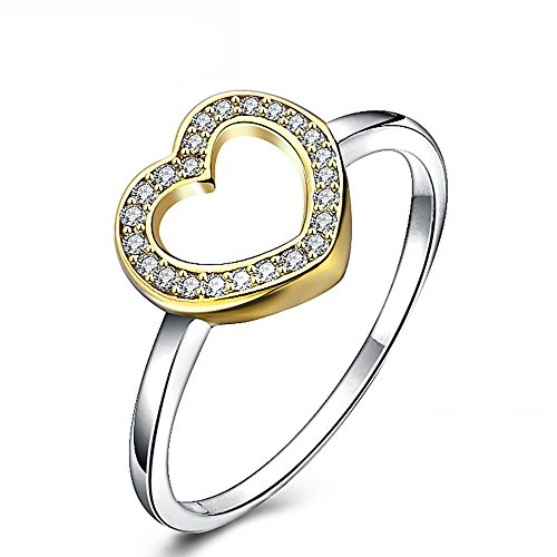 925 Hollow Cubic Zirconia Engagement Rings Sterling Silver Heart Size 6-9 (8, yellow)