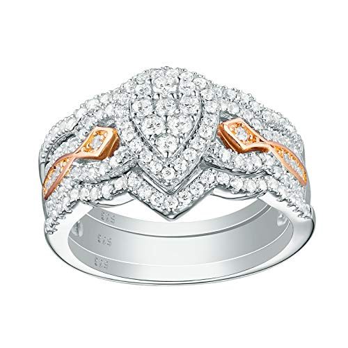 Newshe Pear Bridal Engagement Wedding Ring Set for Women Rose Gold White AAA Cz 925 Sterling Silver Size 9