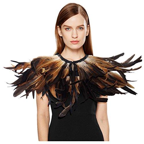 L'VOW Gótico Victoriano Mantón de las plumas Chales Cabo Estolas Con Collar Decoración Para Partido de Halloween (Tipo A)
