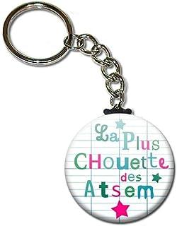 La Plus Chouette des Atsem Porte Clés Chaînette 3,8 centimètres Idée Cadeau Accessoire Fin d'année Scolaire École Noël Rem...