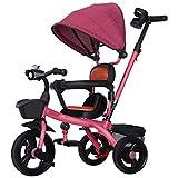 WOF Triciclo de bebé: Cochecito de dirección 4 en 1, barandilla de Aprendizaje Desmontable, toldo Ajustable, arnés de Seguridad, Pedal Plegable, Bolsa de Almacenamiento, Freno, diseño de absorción de