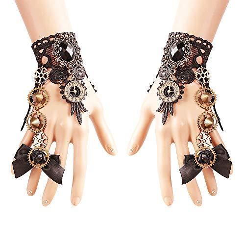 Daimay Gothic Handstulpe mit Brosche Victorian Steampunk Handgelenk Cuff Gear Armband für Hochzeit Braut Halloween Fasching Accessoires - 1 Paar - Schmetterlings Knoten