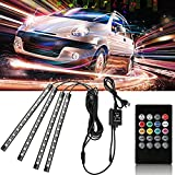 VJK LED Strip Lights, Car Interior Underglow Lights Tubes Wireless Automotive Neon Accent Strip Light with Remote DC12V 48 LED with USB Port Underglow Led Display Case Lights for Home&Party&Decoration