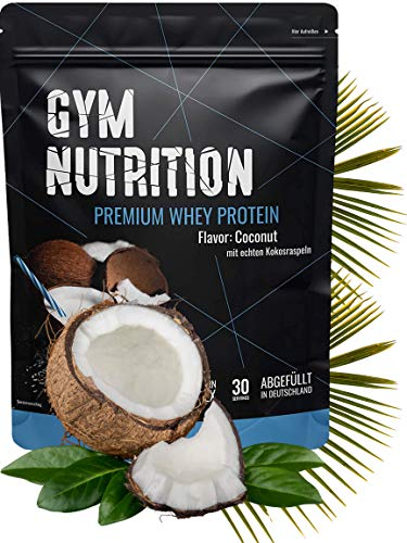 Premium Whey Protein - Eiweißpulver - Laborgeprüft - In Deutschland abgefüllt - Ernährungswissenschaftlern entwickelt (Kokos-nuss mit echten Kokosraspeln)