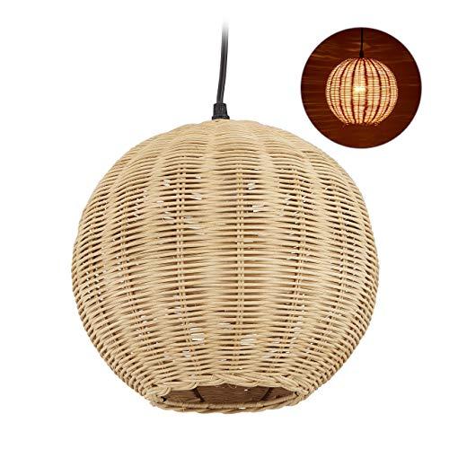 Relaxdays Rattan Lampe, Lampenschirm in geflochtener Optik, für Küche, Ess- & Schlafzimmer, E27, HxD 126 x 22 cm, natur