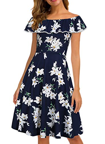 Prime Wardrobe Woman Vintage Casual Off Shoulder Ladies Fit Flare Party Cocktail Cotton Aline Dress with Pockets 991 (L, Blue-Floral)