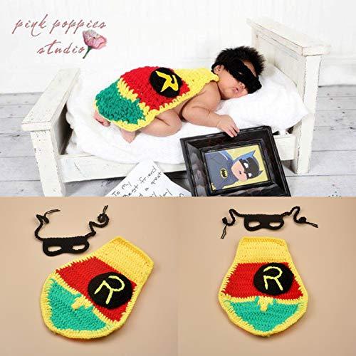 Batman Cape Pasgeboren Baby Fotografie Kostuum Set Kinderen Honderd Dag Fotografie Props Gehaakte Baby Handmatig Katoen Lint Mantel