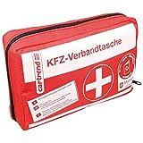 Cartrend 7730042 kit di primo soccorso rosso, DIN 13164, con misure di emergenza di primo soccorso maltesi