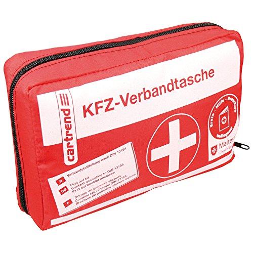 *Cartrend 7730042 Verbandtasche rot, DIN 13164, mit Malteser Erste-Hilfe-Sofortmaßnahmen*