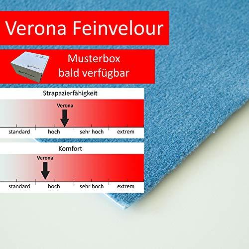 Steffensmeier Velours Teppichboden Verona Meterware | Auslegware für Kinderzimmer Wohnzimmer Schlafzimmer | Hellblau, Größe: 200x100 cm