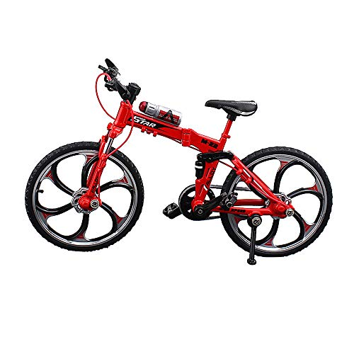YEIBOBO ! Alloy Mini Bicycle Toy - Finger Bike for Collections (Folding Mountain Bike Red)