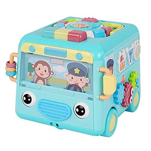 Ruedas en el autobús Juguete, autobús escolar de juguete para empujar y tirar, autobús de juguete con música,sonidos y cancionesJuguete educativo y de aprendizaje para bebés y niños pequeños