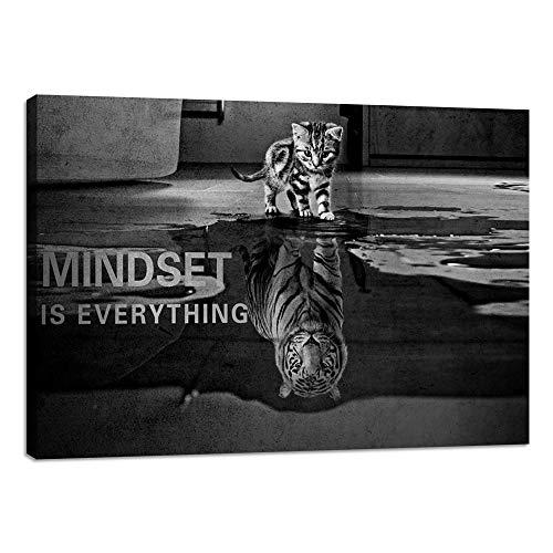 Yetaryy Inspirational Wall Art Cat Entrepreneurship Positive Canvas...