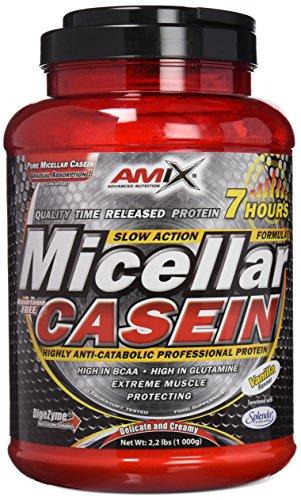 AMIX - Proteína Isolada Micellar Casein - Complemento Alimenticio con Alta Proporción de Caseína Micelar - Proteína para Ganar Masa Muscular - Contiene Enzimas Digestivas - Sabor Vainilla - 1 KG