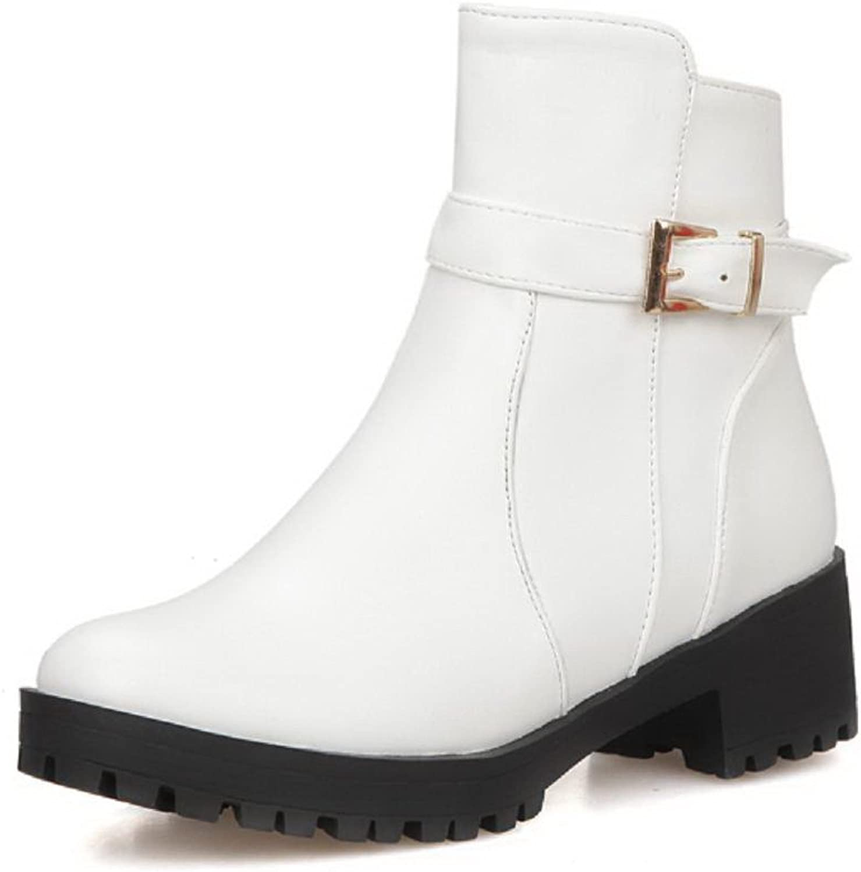 AllhqFashion Women's Zipper Pu Round Closed Toe Kitten Heels Solid Boots