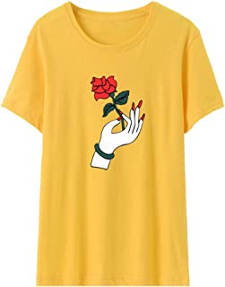 AOJIAN Rose T Shirt,Short Sleeve Shirts,Tunic Blouse Tanks Vest Tops for Women