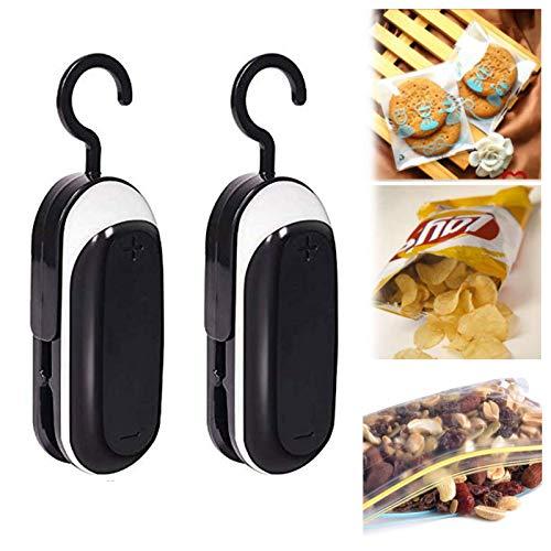 2Pack Mini Plastic Bag Sealer, 2 In 1 Sealer And Cutter, Portable food sealer handheld with Detachable Hook for Plastic Bags, Food Storage Snack Fresh Bag Sealer, Batteries Powered(2 pcs black)
