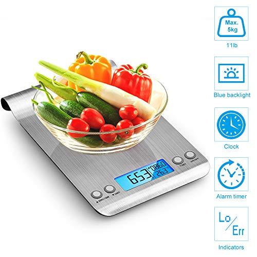 himaly Digitale Küchenwaage Edelstahl, Digitalwaage Briefwaage mit Tara-Funktion(5kg/1g), großem LCD-Display, Auto-Off, elektronische Waage für Nahrungsmittel, Backen, Kochen